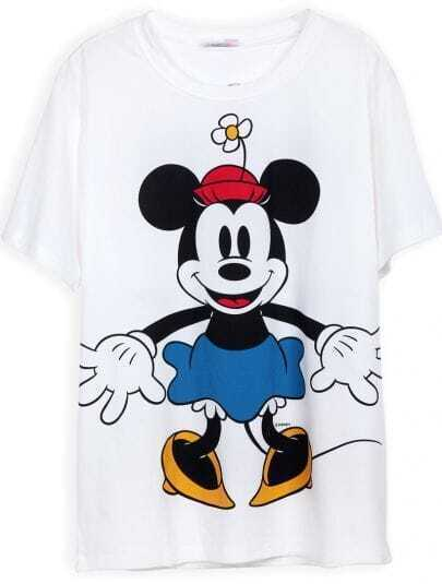 White Short Sleeve Mickey Print Loose T-Shirt