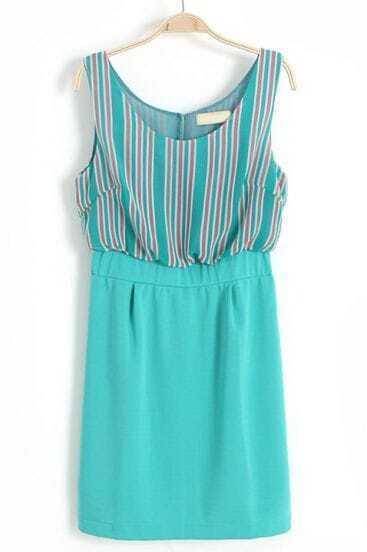 Green Sleeveless Vertical Stripe Chiffon Dress