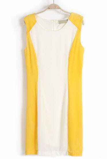 Yellow White Sleeveless Back Zipper Chiffon Dress