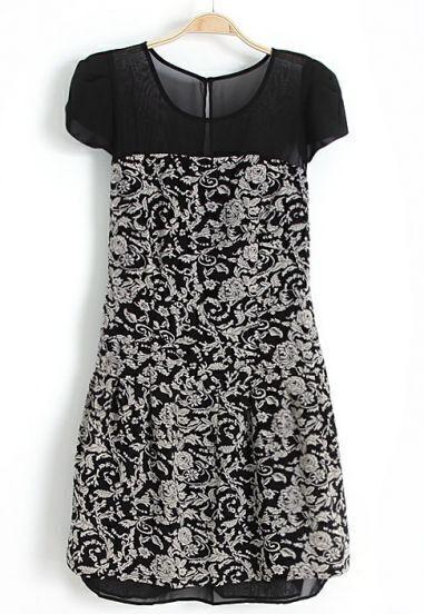 Black Short Sleeve Contrast Mesh Yoke Floral Dress