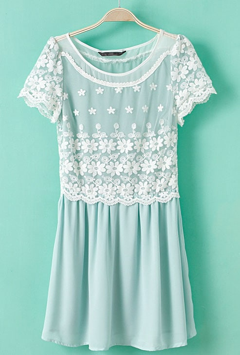 Light Blue Short Sleeve Lace Embroidery Chiffon Dress -SheIn ...