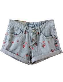 Blue Flange Floral Pockets Denim Shorts