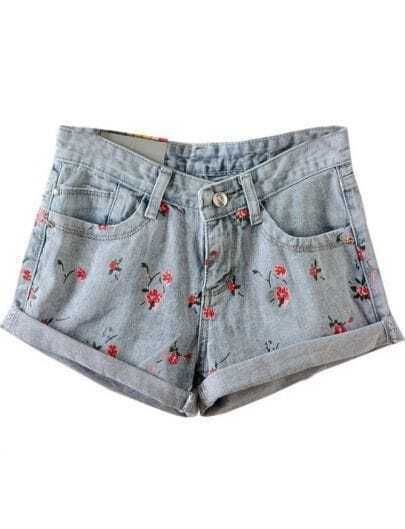 Blue Flange Floral Pockets Denim Shorts