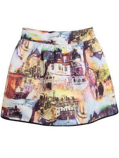 Multi High Waist Houses Oil Painting Print Skirt