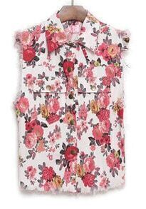 White Lapel Sleeveless Floral Pockets Outerwear