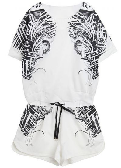 White Short Sleeve Totem Print Top With Shorts