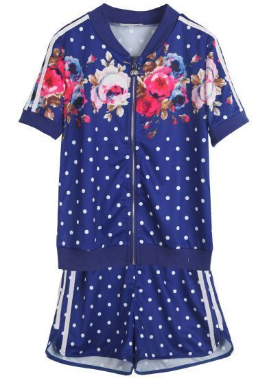 Blue Short Sleeve Polka Dot Floral Top With Shorts