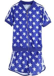 Blue Short Sleeve Polka Dot Stars Print Top With Shorts