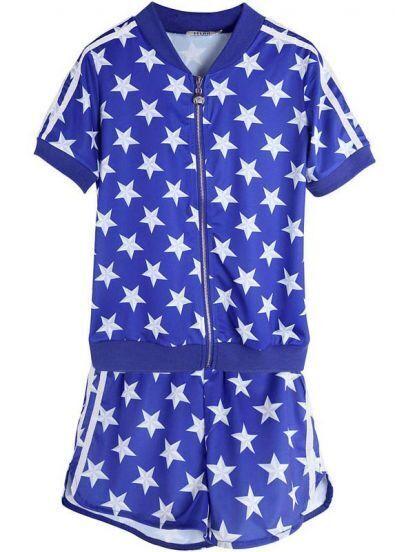 Blue Short Sleeve Polka Dot Stars Print Top With Shorts