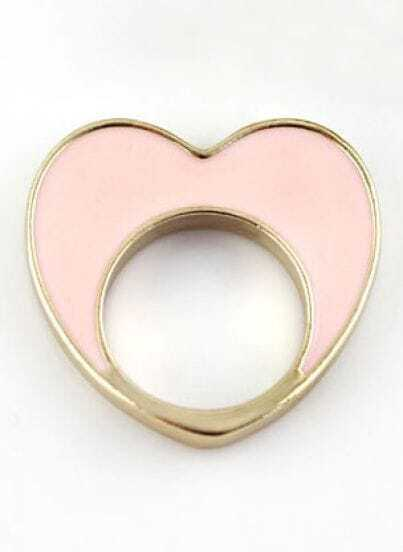 Gold Pink Heart Ring