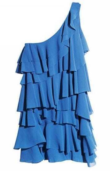 Blue One Shoulder Chiffon Tiered Ruffle Dress