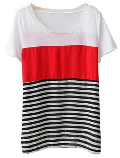 Red Short Sleeve Striped Loose Chiffon Blouse