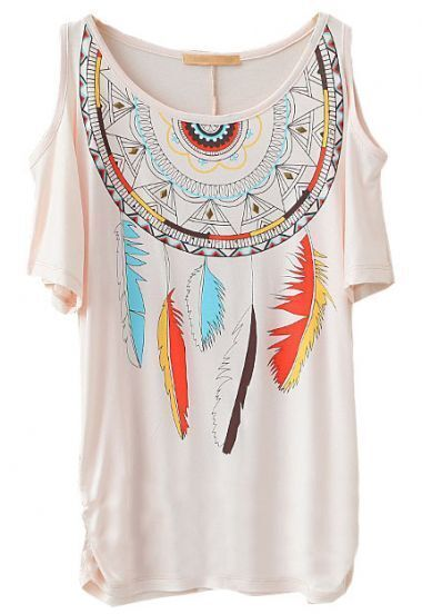 Pink Off the Shoulder Rivet Feather Print T-Shirt