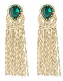 Green Gemstone Gold Chain Tassel Earrings