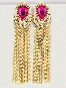 Red Gemstone Gold Chain Tassel Earrings