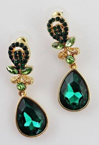 Green Gemstone Gold Drop Earrings