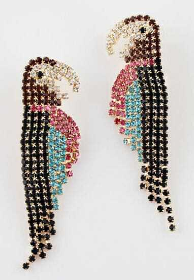 Multi Gemstone Gold Parrot Earrings