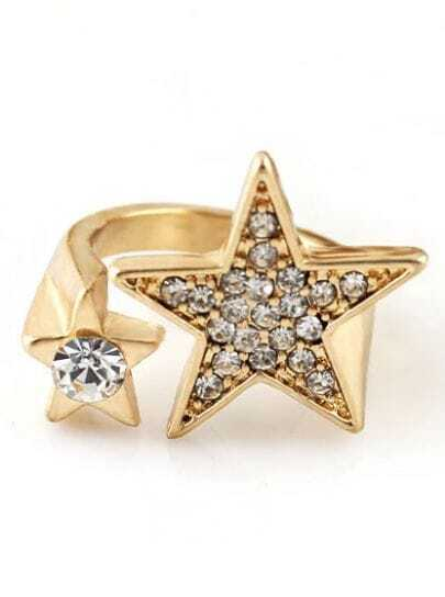 Gold Crystal Star Ring
