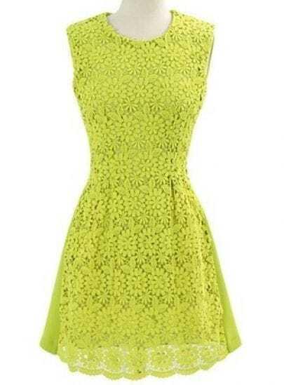 Green Sleeveless Back Zipper Hollow Lace Sundress