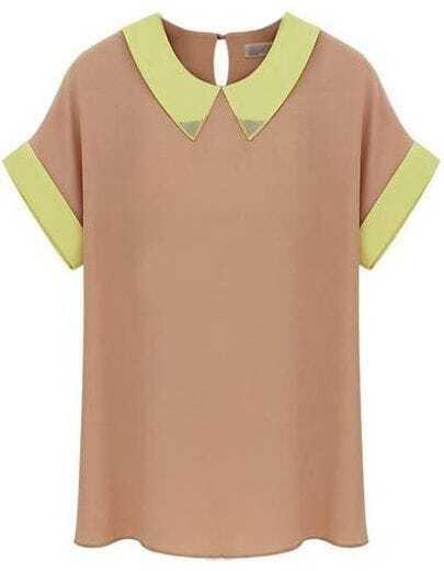 Pink Lapel Short Sleeve Metal Embellished Blouse