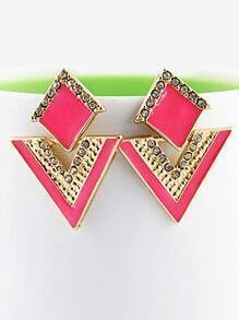 Red Triangle Gold Crystal Earrings