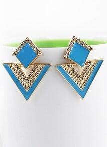 Blue Triangle Gold Crystal Earrings