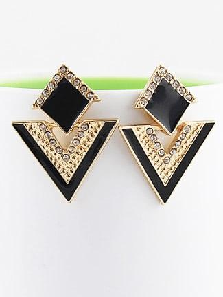 Фото Black Triangle Gold Crystal Earrings. Купить с доставкой