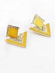 Yellow Triangle Gold Crystal Earrings