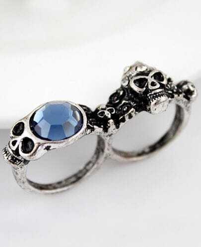 Blue Gemstone Retro Silver Skull Two Finger Ring
