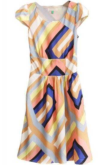 Yellow Short Sleeve Striped Geometric Print Dress