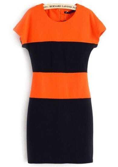 Orange Navy Short Sleeve Body-Conscious Bodycon Dress