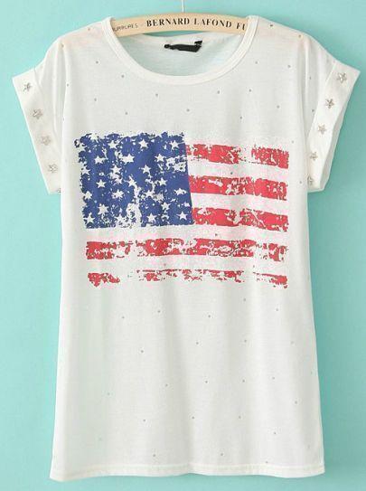 White Short Sleeve Rivet American Flag Print T-Shirt