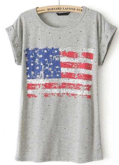 Grey Short Sleeve Rivet American Flag Print T-Shirt