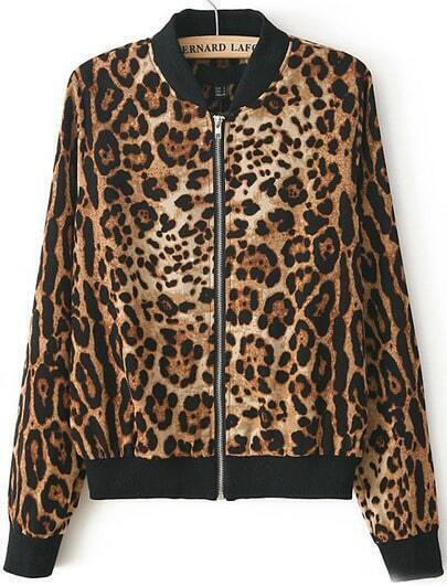 Leopard Stand Collar Long Sleeve Zipper Jacket