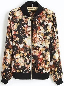 Black Stand Collar Long Sleeve Zipper Floral Jacket