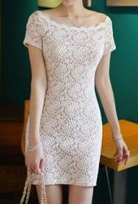 Apricot Boat Neck Short Sleeve Lace Bodycon Dress