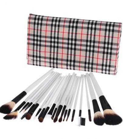 20 pcs Makeup Brush Set with Checked Leather Pouch