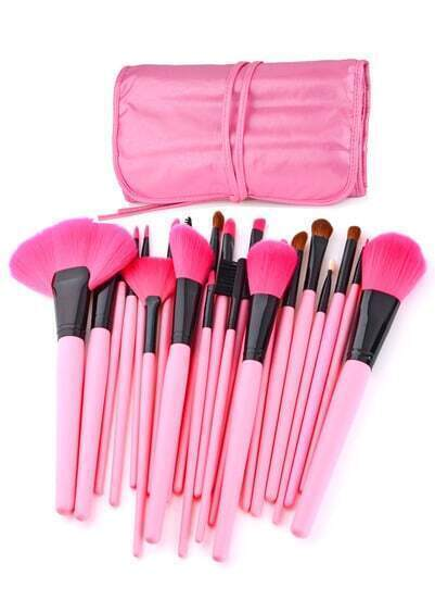 24 pcs Pink Makeup Brush Kit with Pink Roll-up PU Leather Case