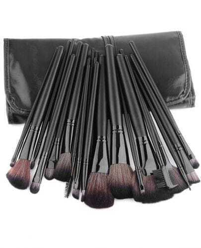 24 pcs Makeup Brush Kit with Black Roll-up PU Leather Case