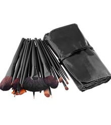 32 pcs Makeup Brush Kit with Black PU Leather Case