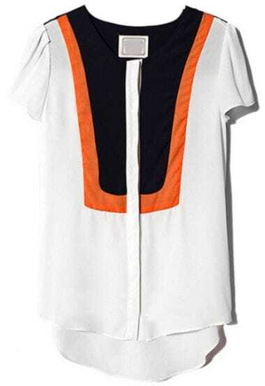 Orange White Short Sleeve Chiffon Dipped Hem Blouse