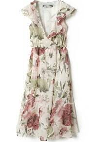 Beige V Neck Ruffles Ink Paintings Print Chiffon Dress