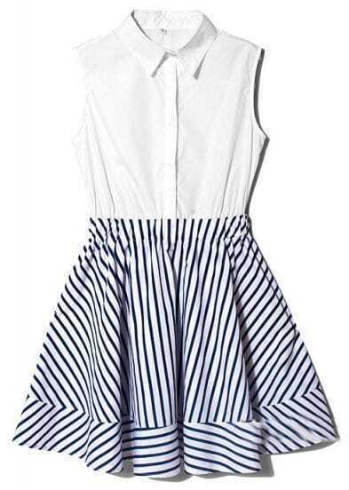 White Blue Lapel Sleeveless Striped Ruffles Dress