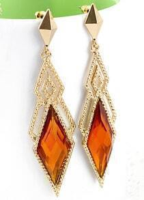 Yellow Gemstone Gold Hollow Geometric Earrings