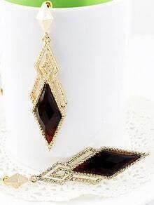 Red Gemstone Gold Hollow Geometric Earrings