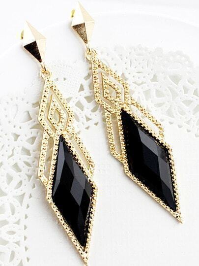 Black Gemstone Gold Hollow Geometric Earrings