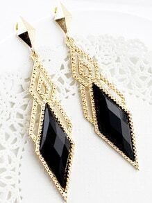 Black Gemstone Gold Hollow Geometric Earrings