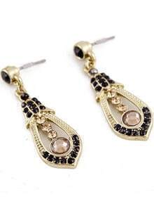 Black Gemstone Gold Drop Earrings