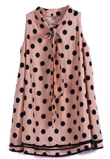 Pink Sleeveless Polka Dot Bow Chiffon Dress