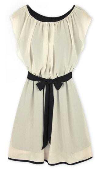 Beige Round Neck Self-Tie Waist Chiffon Dress
